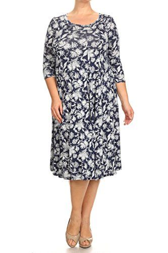 db5659d869c Pastel by Vivienne Womens ALine Trapeze Midi Dress Plus Size XXLarge Floral  Navy   You can find out more details at the link of the image.