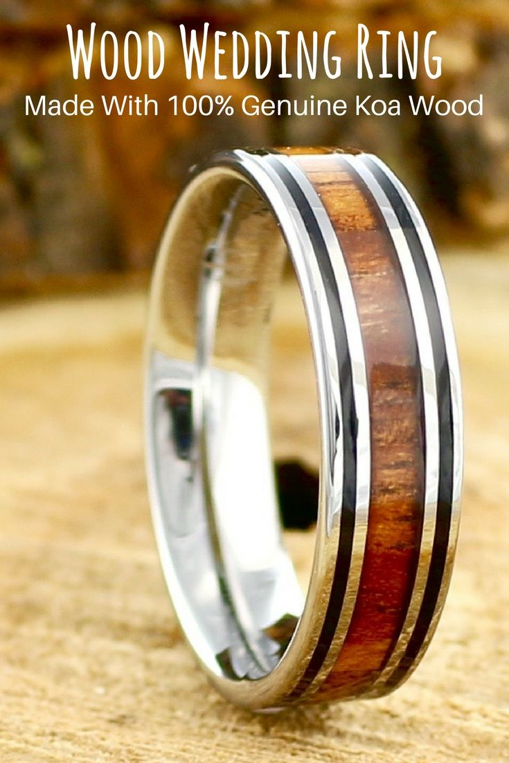 Mens Tungsten Wood Wedding Ring with Double Black Lines Weddings