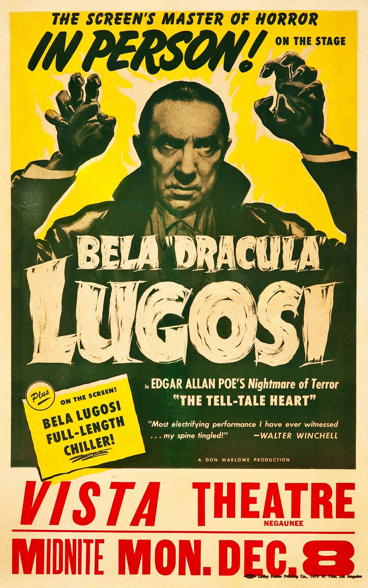 "A poster advertising a personal appearance by Bela ""Dracula"" Lugosi"