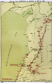 Battle of Aleppo (1918) - Falls Sketch Map 41 Pursuit from Damascus on