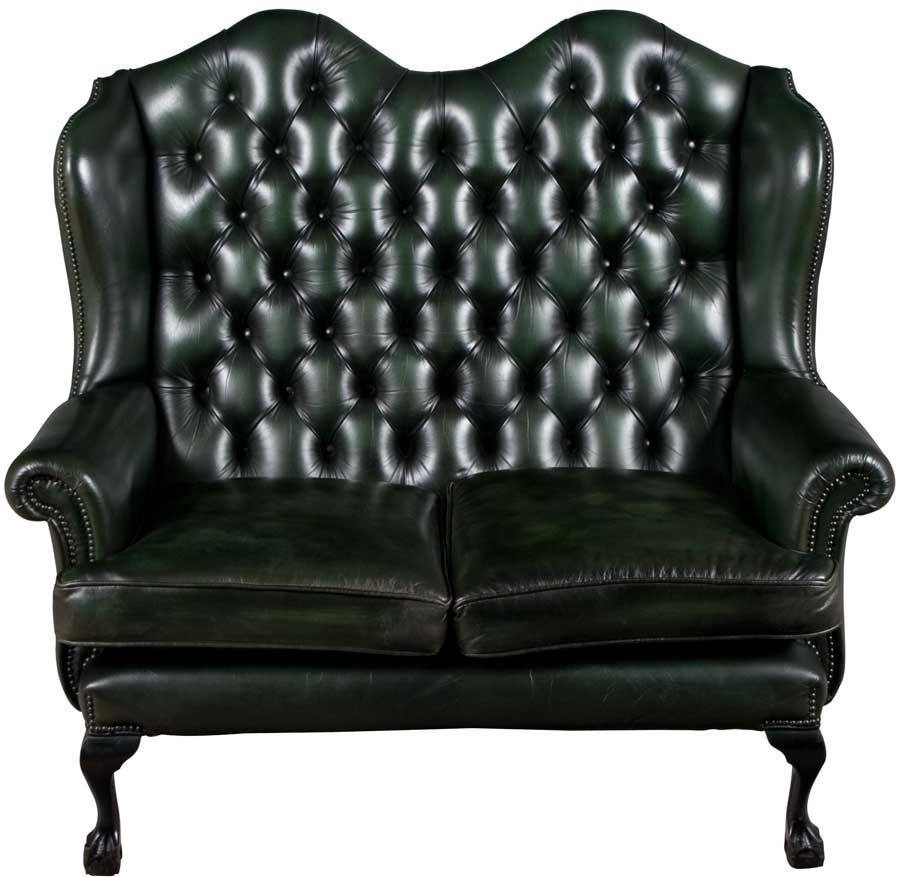 Tall Back Leather Love Seat Love Seat Green Leather Sofa Two Seater Leather Sofa