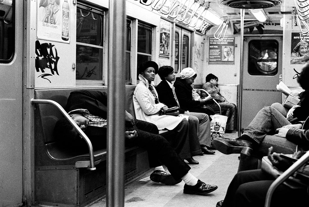 Vintage everyday black white photographs of street scenes in new york city in the 1970s