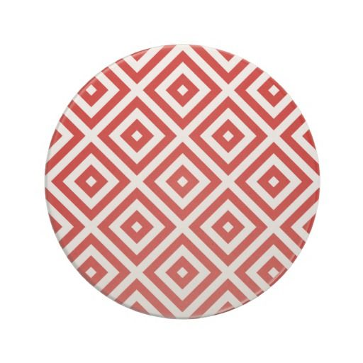 Red and White Granny Squares Coasters #patterns