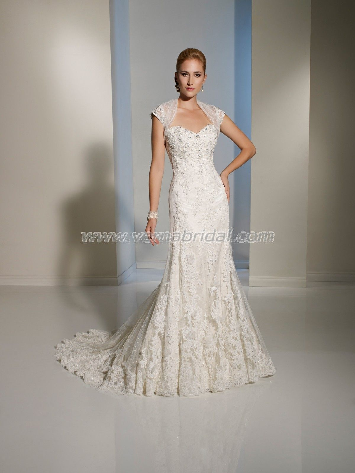 This neckline and sleeve in cocktail length wedding dresses