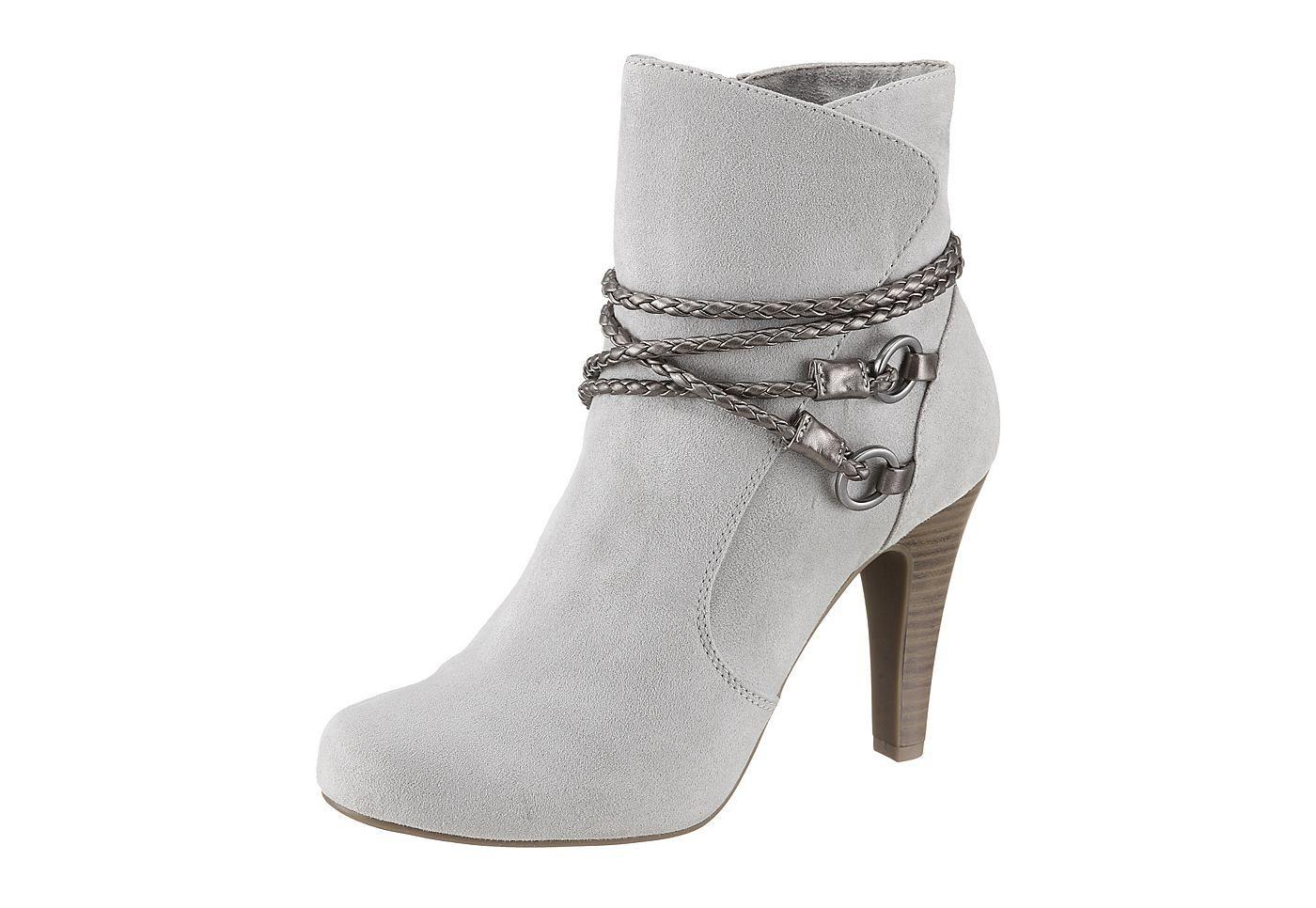 High Heel Stiefelette, Tamaris. Textil in Velourslederoptik