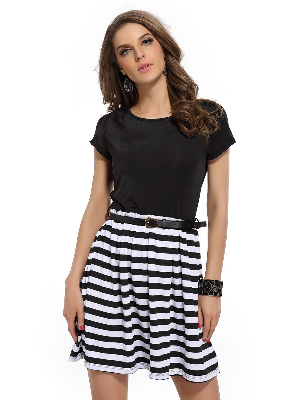 Black And White Striped Casual Mini Dress A Line Short Sleeve