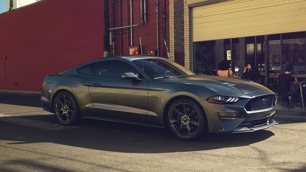 2018 Ford Mustang On Stock Black Wheels Ford Mustang Mustang