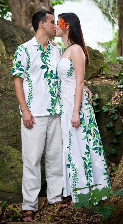 Lei Of Aloha Hawaiian Beach Wedding Dress Amp Lavahut Matching Shirts Dresses Fashion Show