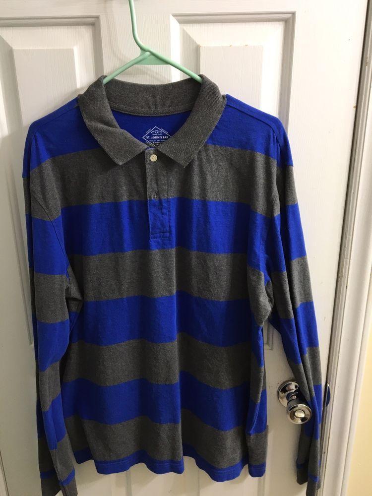 8b2b1663 St Johns Bay Mens Large Royal Blue & Gray Striped Long Sleeve Polo Rugby  Shirt #fashion #clothing #shoes #accessories #mensclothing #shirts (ebay  link)