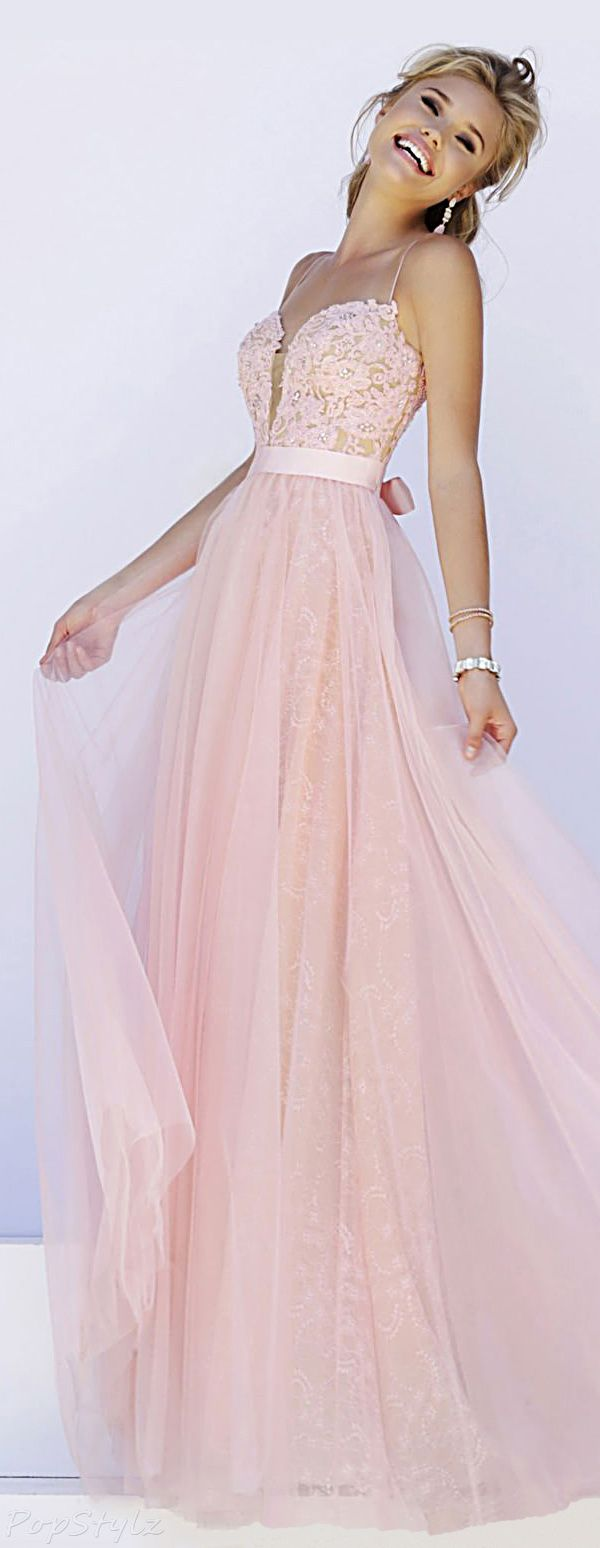 Pastel pink bridesmaid dress  Sherri Hill  Lacy Floor Length Long Flowing Evening Gown  Prom