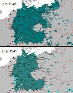 german speaking areas before and after 1945