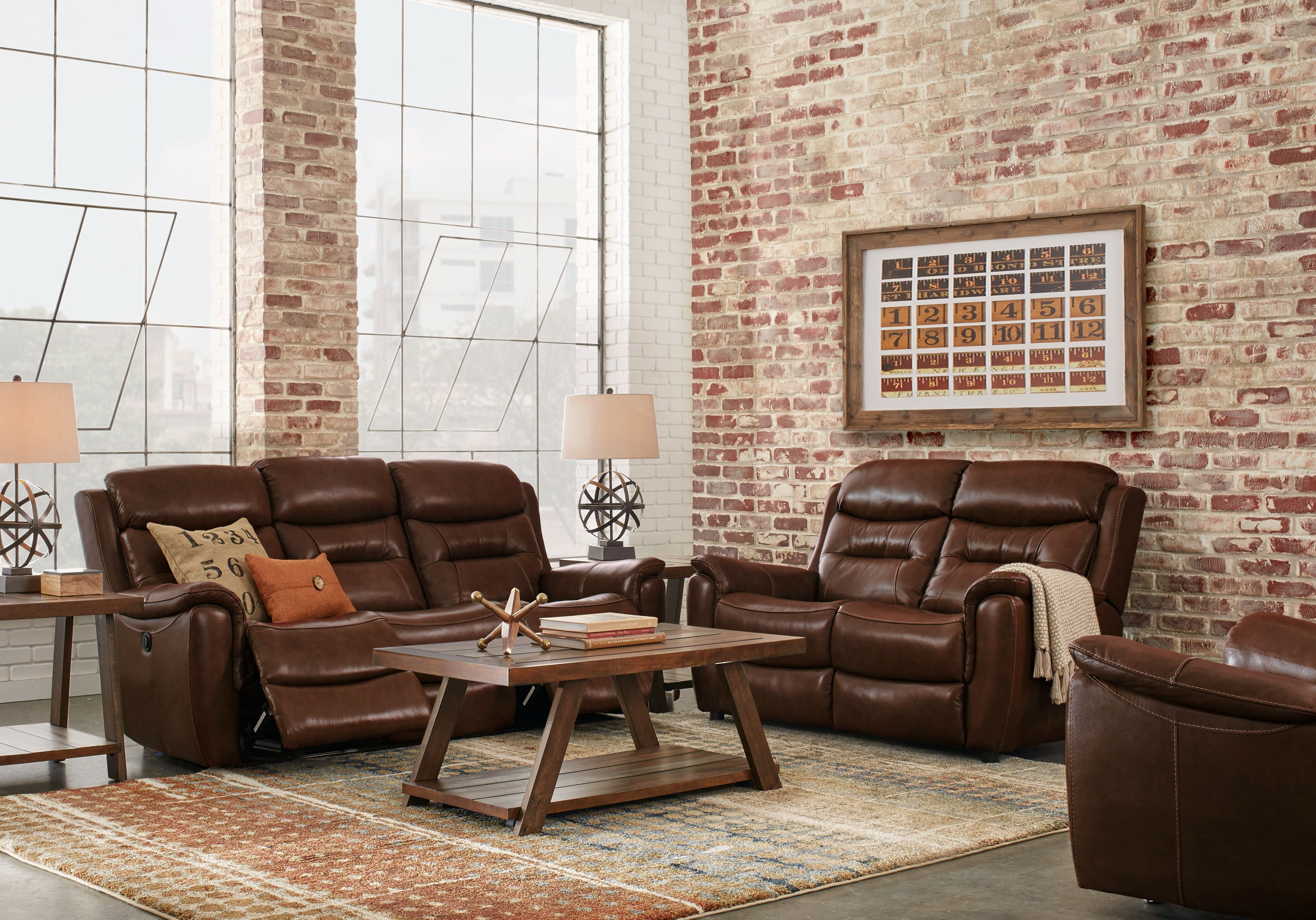 Sabella Walnut Leather 3 Pc Living Room With Reclining Sofa 1977 0 3pc Set Includes Reclining Living Room Sets Furniture Living Room Leather Living Room Sets
