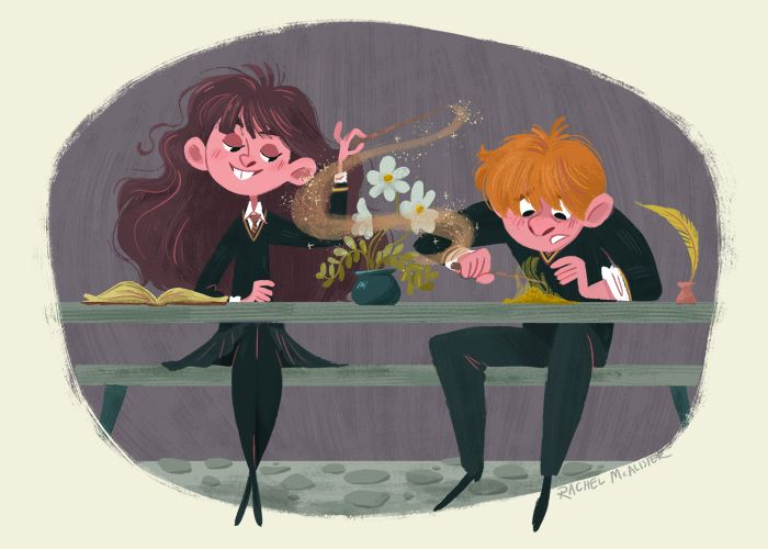 Decided to paint an old sketch of Ron and Hermione.