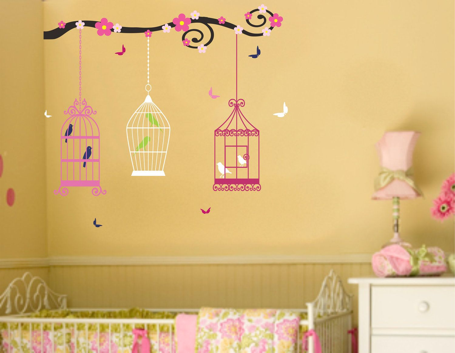 Nursery Bird Cages and Butterflies Wall Decal Baby Girl Wall Sticker ...