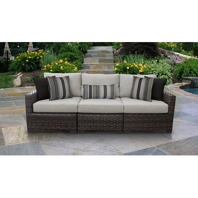 Kathy Ireland Homes Gardens By Tk Classics River Brook 3 Piece Outdoor Wicker Patio Furniture Set 03c Cushion Colour Truffle Outdoor Furniture Sofa Wicker Patio Furniture Patio Furniture Sets