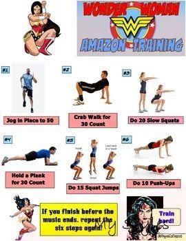 Wonder Woman Superhero Fitness Warm-up Activity for PE #fitness #journal