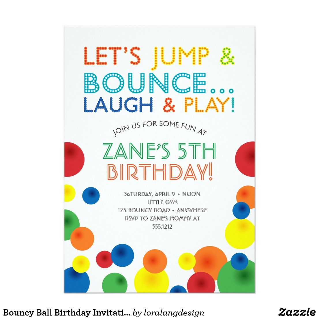Bouncy Ball Birthday Invitation