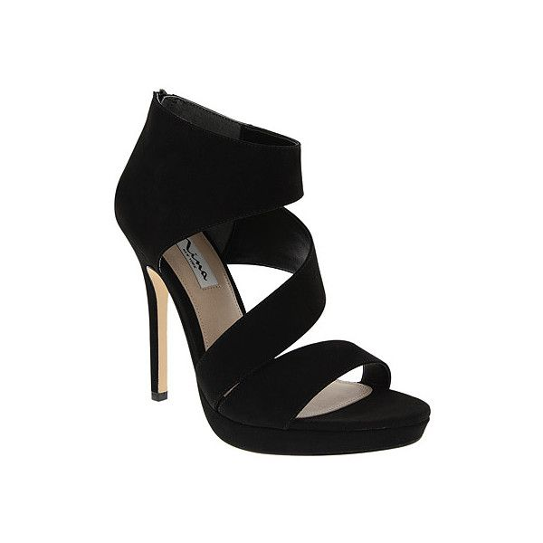 Nina Faust ($99) ❤ liked on Polyvore featuring shoes, sandals, black suede,  platform sandals, women's, suede platform sandals, platform shoes, wrap  sandals ...