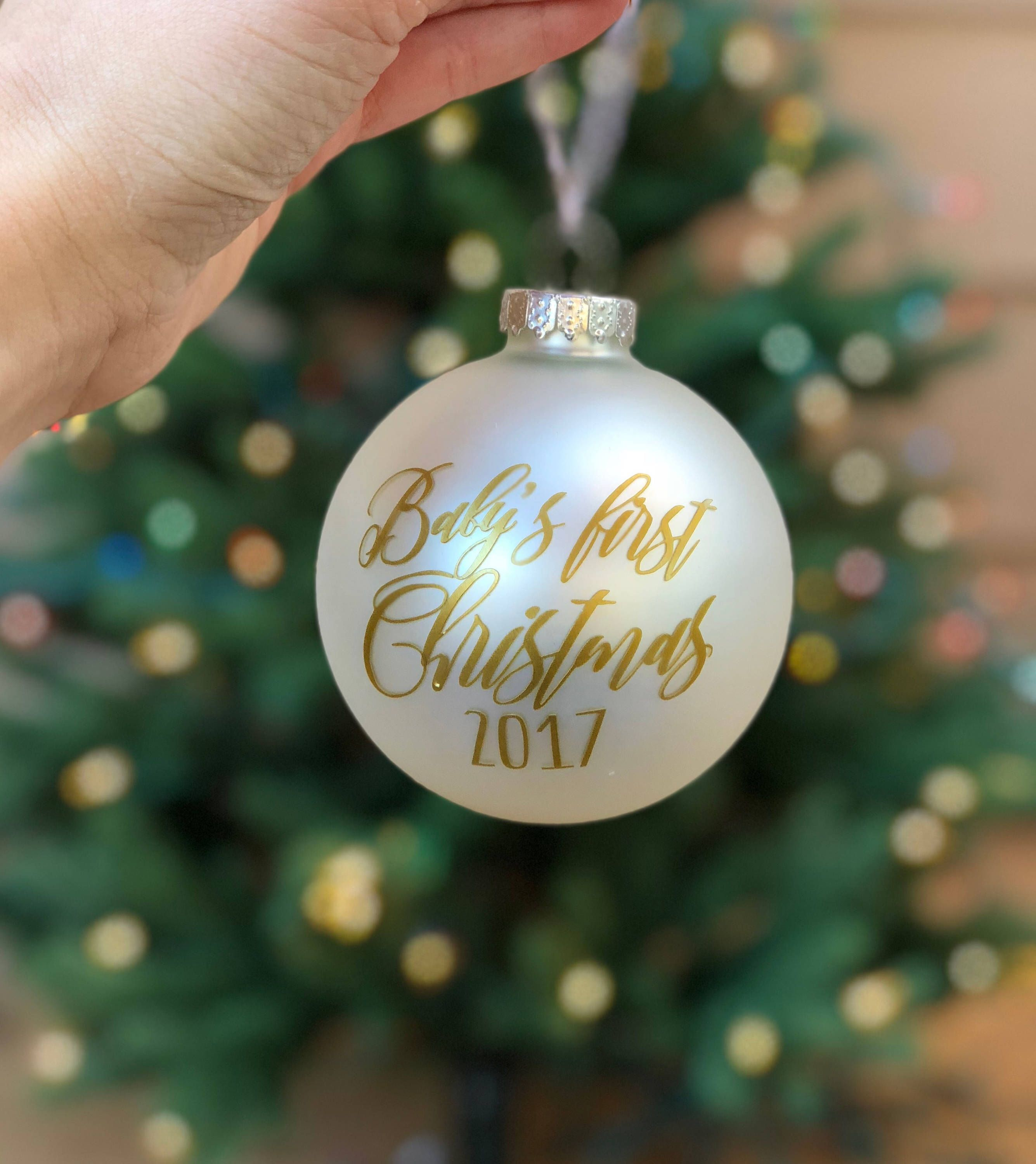 a1805803c7335 Excited to share the latest addition to my #etsy shop: Baby's first  Christmas ornament – Bump's first Christmas - customizable bauble glass  ornament