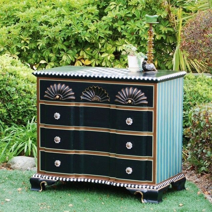 Makandjill Mackenzie Childs Inspired Checkerboard Dresser Web