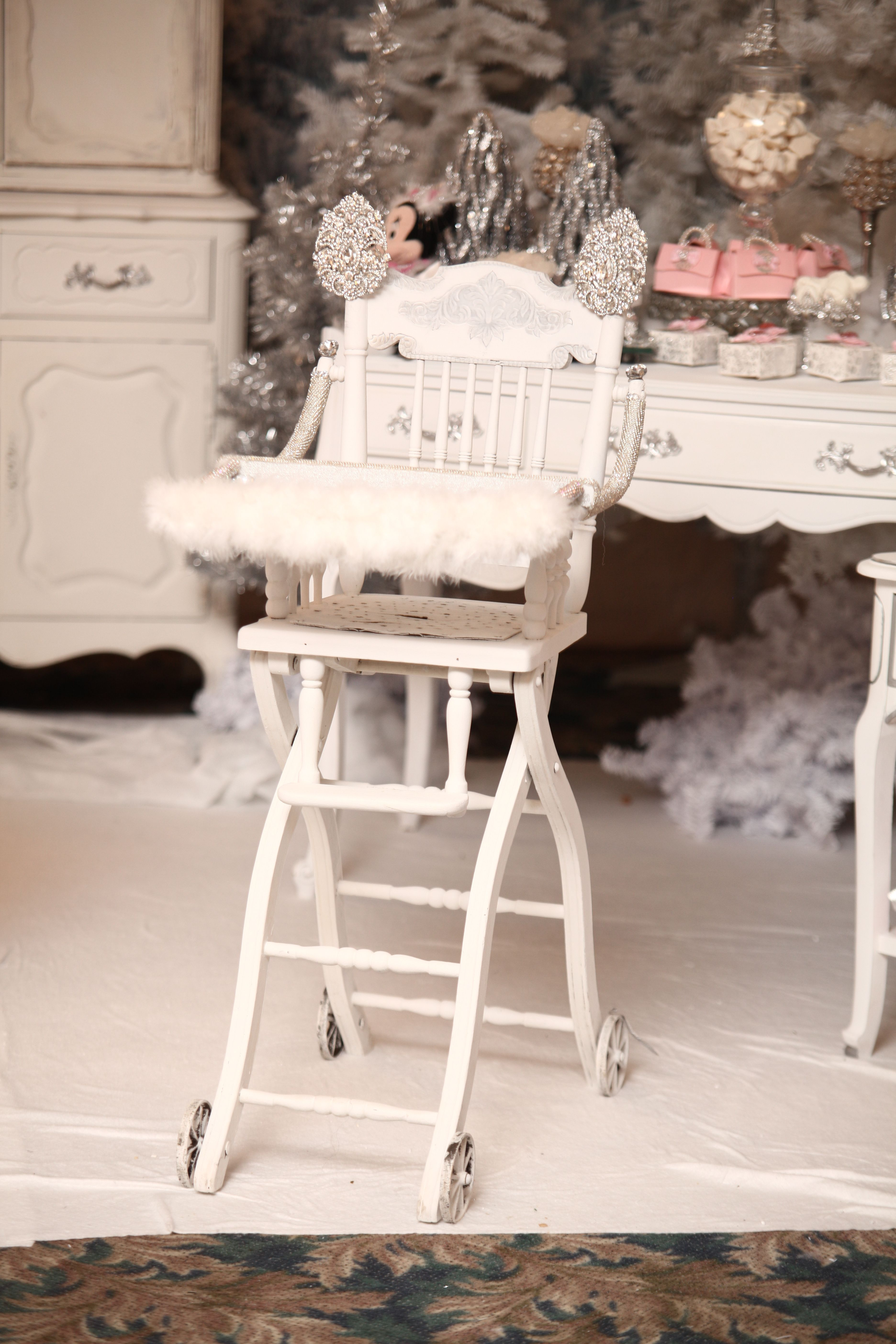 Vintage 1800s high chair Minnie Mouse in winter wonderland bling