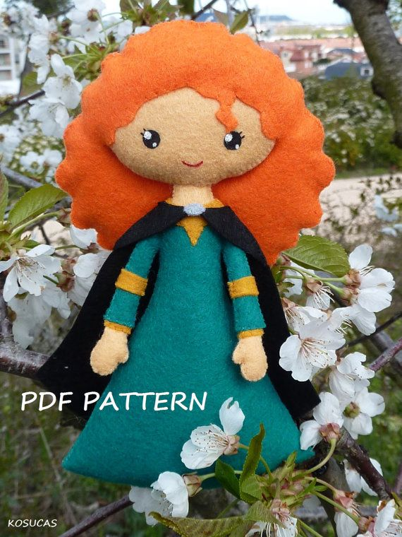 PDF sewing pattern to make a felt doll inspired in Mérida and her ...