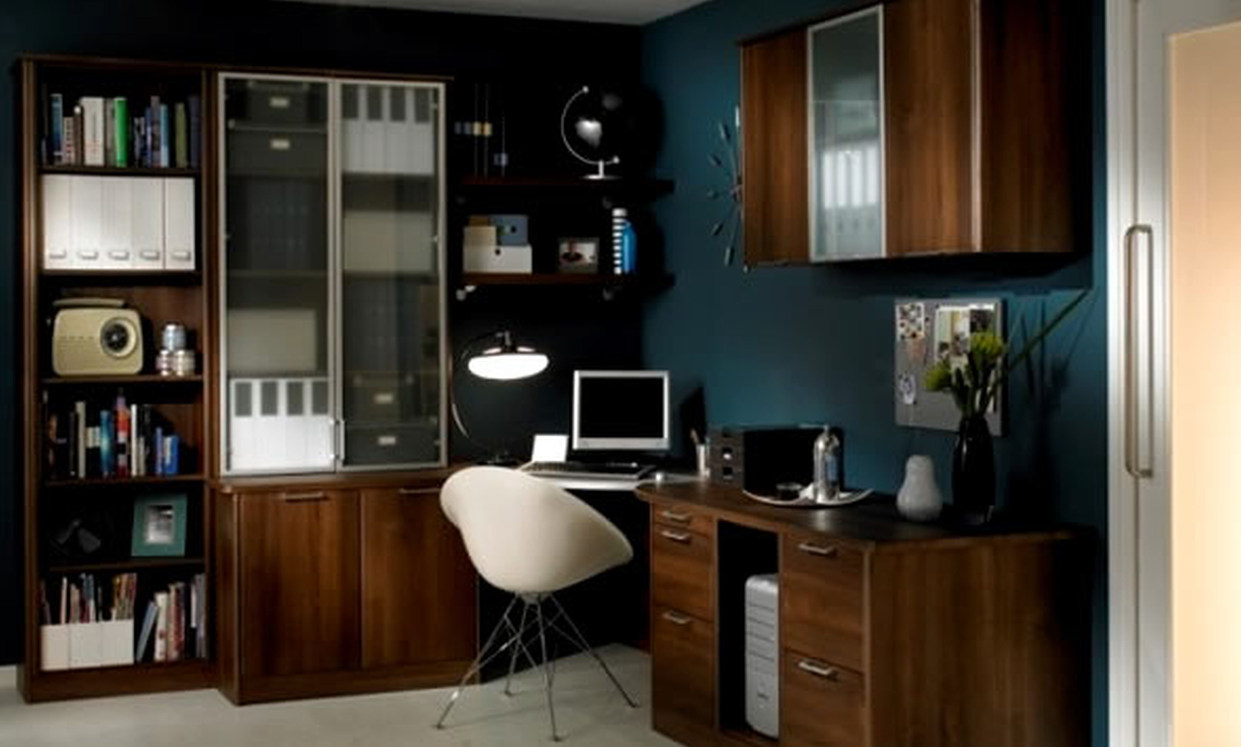 Dark Blue And White Themed Cool Home Office Design With Useful Brown Wood L Shaped Office Desk T Office Desk Designs Office Interior Design Office Space Design