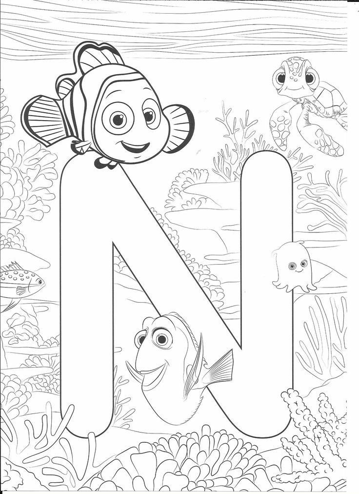 N for Nemo | Disney coloring pages, Nemo coloring pages