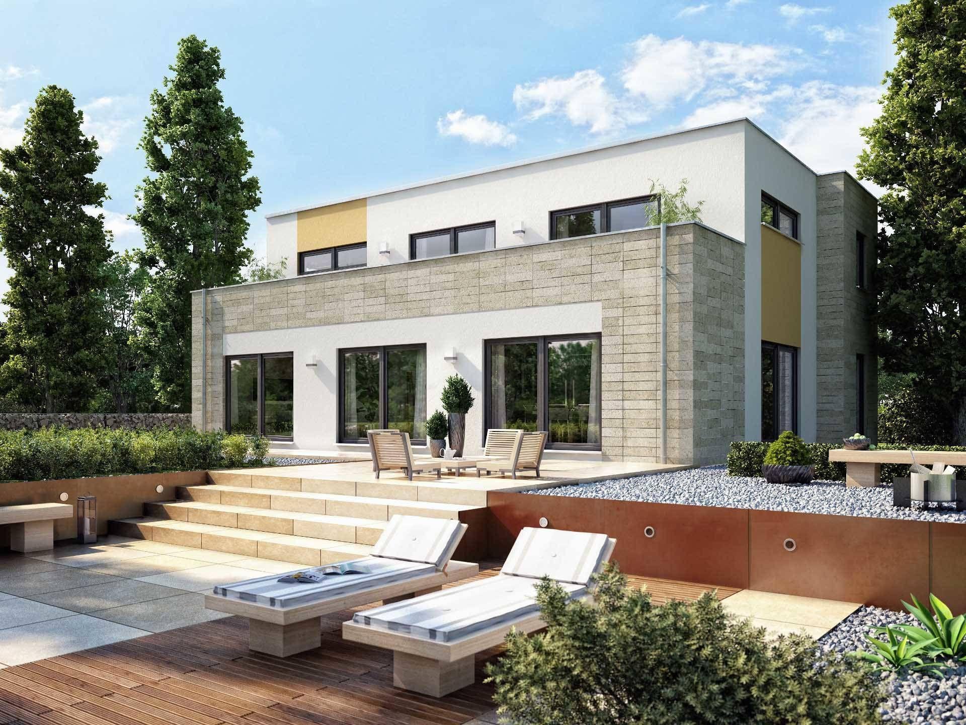 hausentwurf sonnenterrasse bauhaus cubus von okal haus modernes einfamilienhaus mit. Black Bedroom Furniture Sets. Home Design Ideas