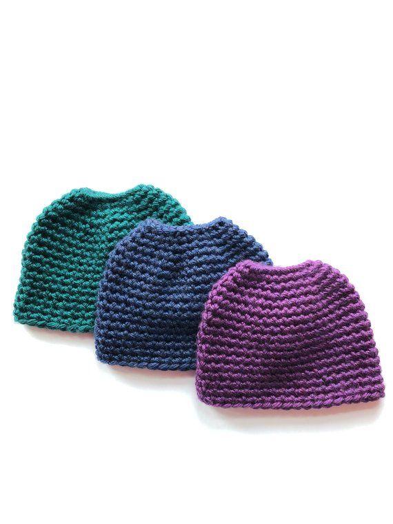 72480cee162 One Hour Messy Bun Beanie Crochet Pattern- Ponytail Hat Crochet ...