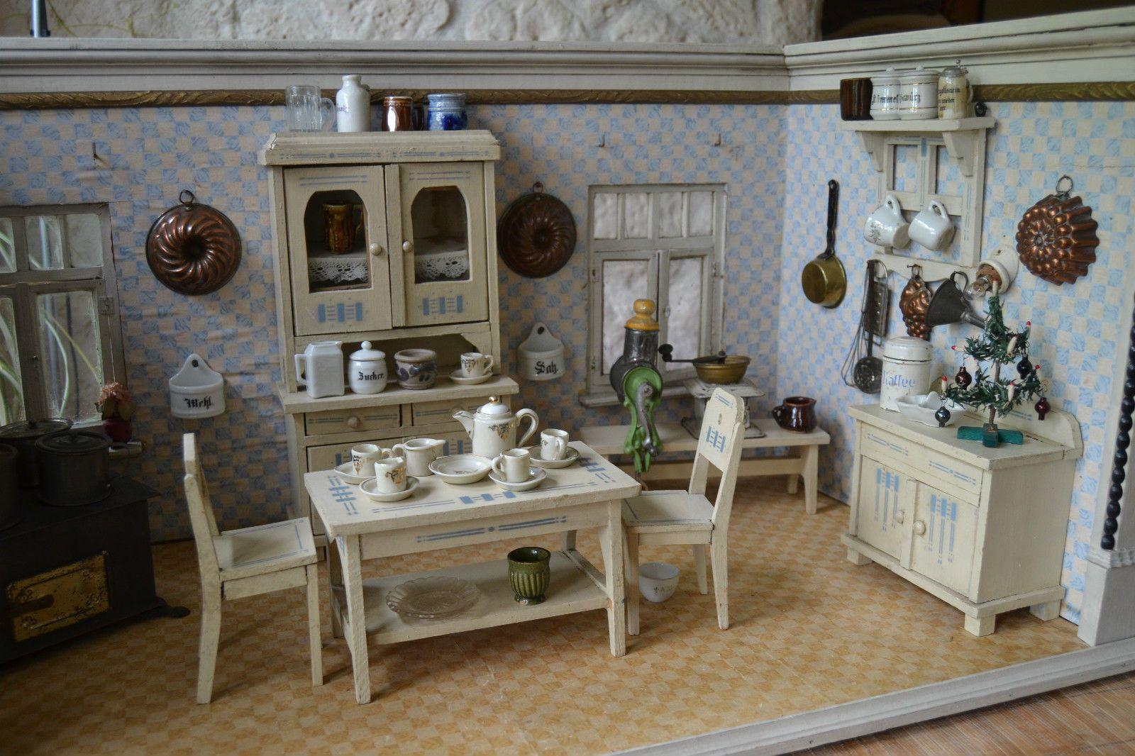 Originale Jugendstil Puppenküche alte Tapeten Rarität