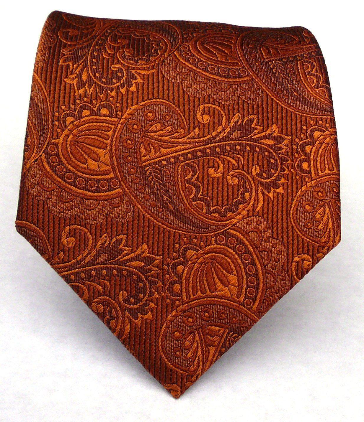 Silk Woven Burnt Orange (Rust) Paisley Tie: Rich, Gorgeous