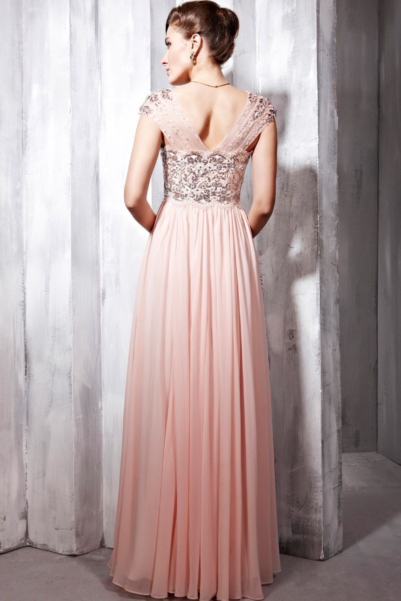 Pink and Silver Cap Sleeved Prom Dress | Happily Ever After ...