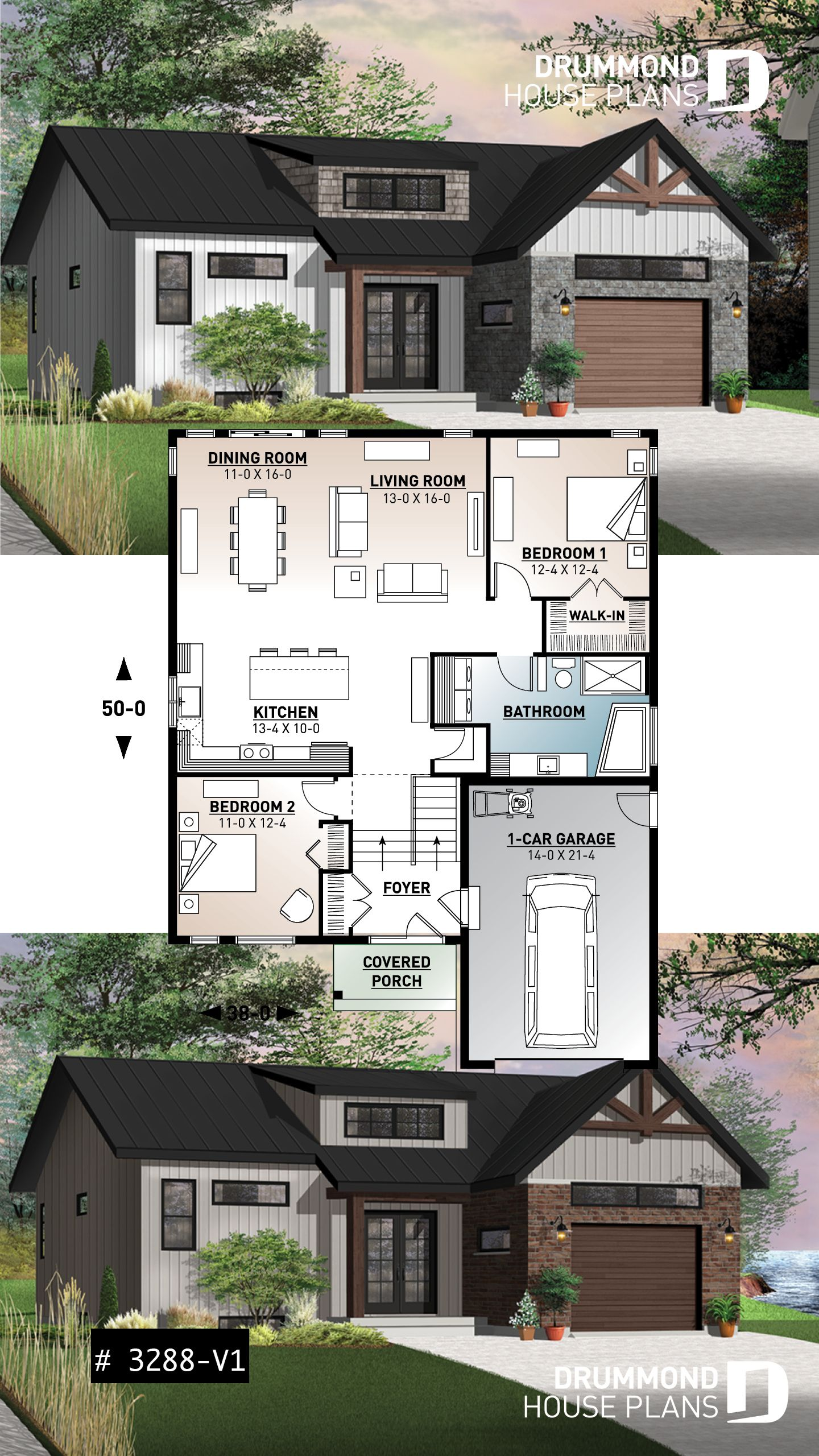 Discover The Plan 3288 V1 Urban Valley 2 Which Will Please You For Its 2 Bedrooms And For Its Farmhouse Styles Bungalow House Plans Sims House Plans House Plans