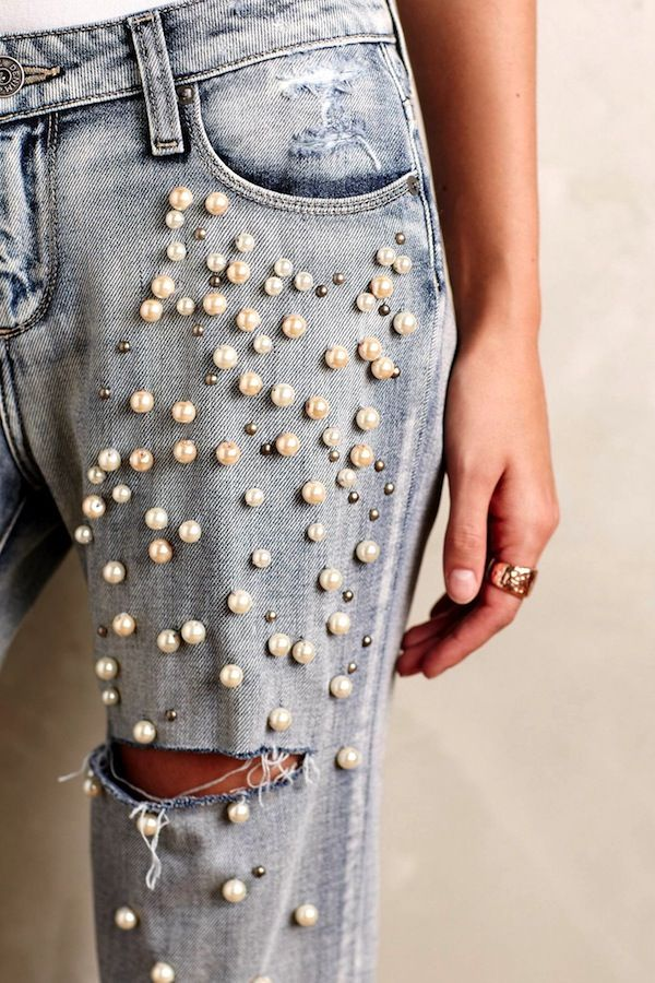 Would You Wear Pearl Embellished Jeans? (Le Fashion) | Embellished jeans Pearls and Jeans style