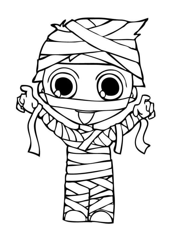 mummy costume halloween coloring pages - Cute Halloween Coloring Pages
