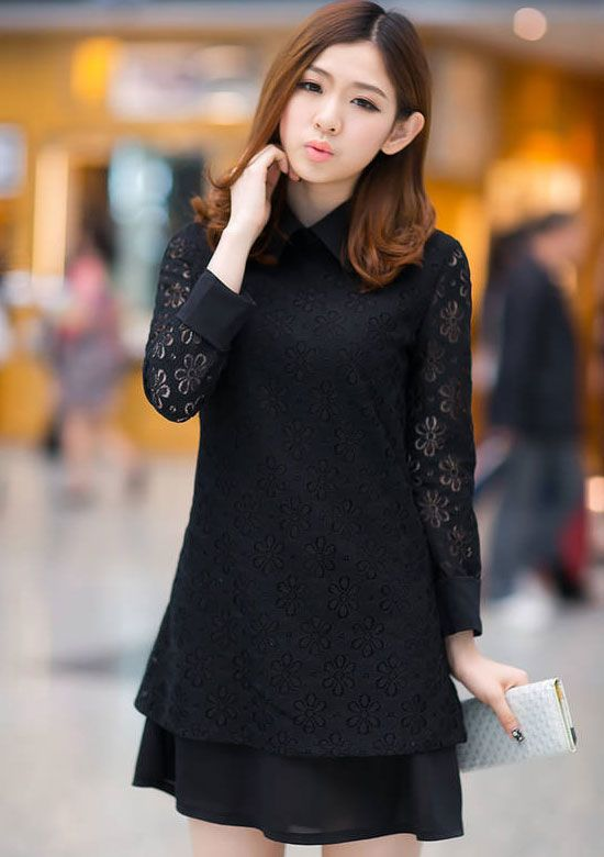 Women's Pure Color Lace Printed Turn-Down Collar Dress Black