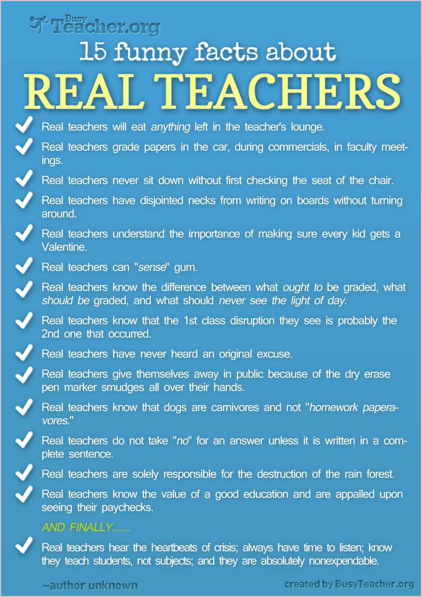 Funny Facts About Real Teachers | Teaching, The teacher and All.