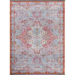 alfombra de tejido plano benuta Ian multicolor / azul 120×160 cm – alfombra vintage en el aspecto usado benuta