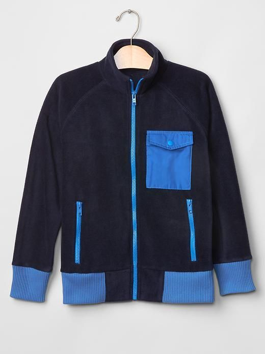 Details about Boy GAP Fleece Fall Jacket Zip Navy Blue School ...