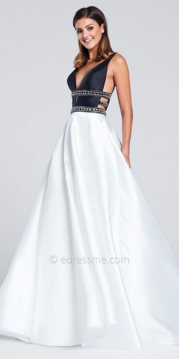 7e65c2c8940 Ellie Wilde for Mon Cheri Plunging Strap Back Mikado Prom Gown at eDressMe   ad