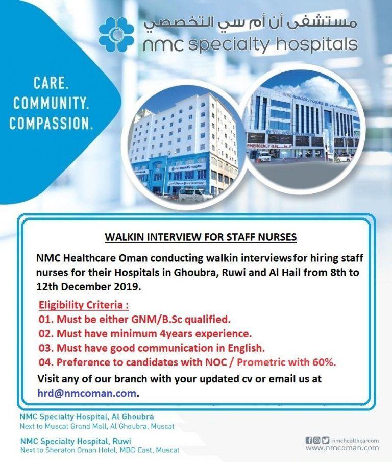 Walkin Openings Oman Health Care