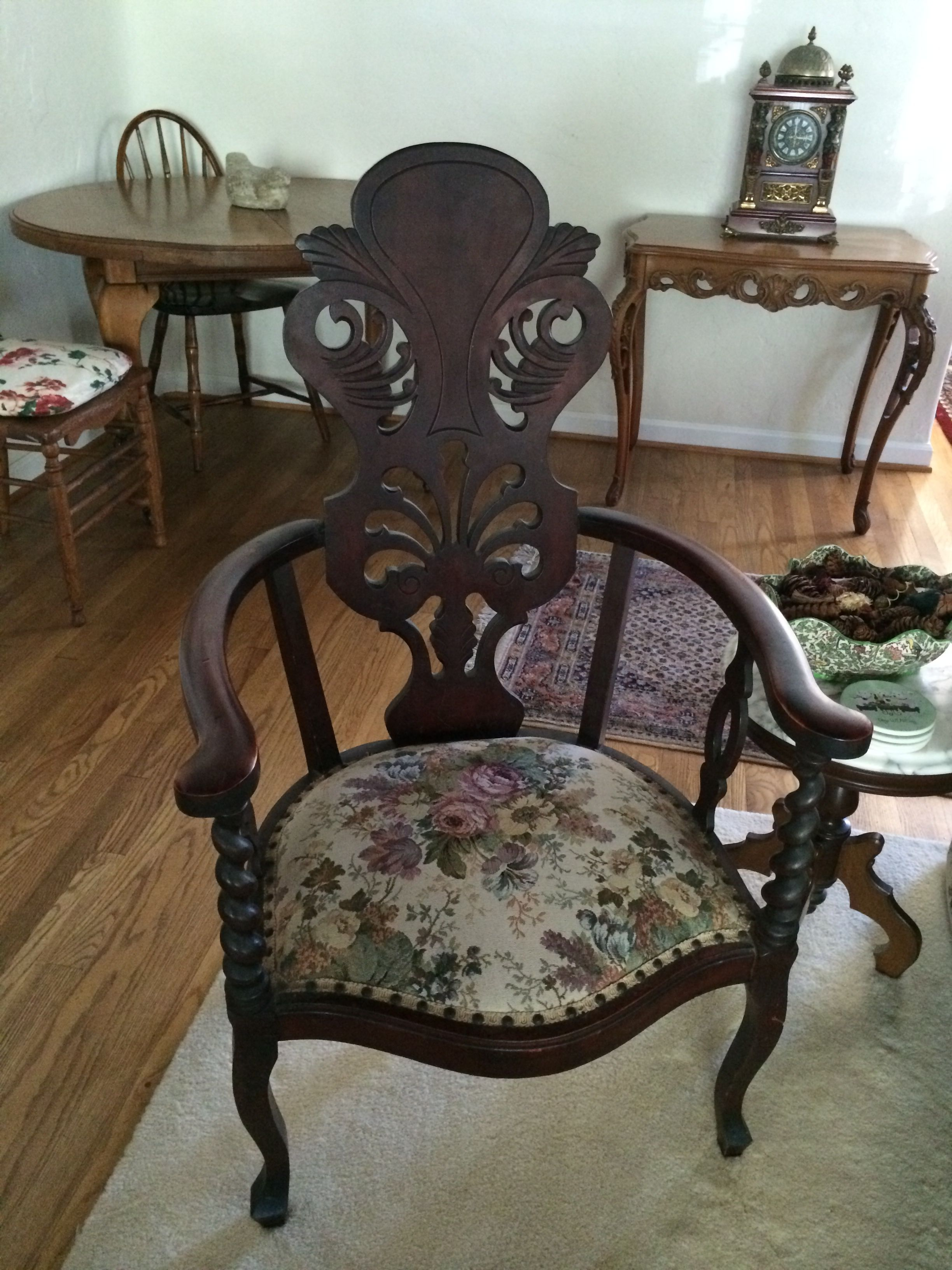 Before Grandma S Antique Empire Flame Mahogany Chair With Old Upholstery Pre Fabric Chalk Paint On Seat