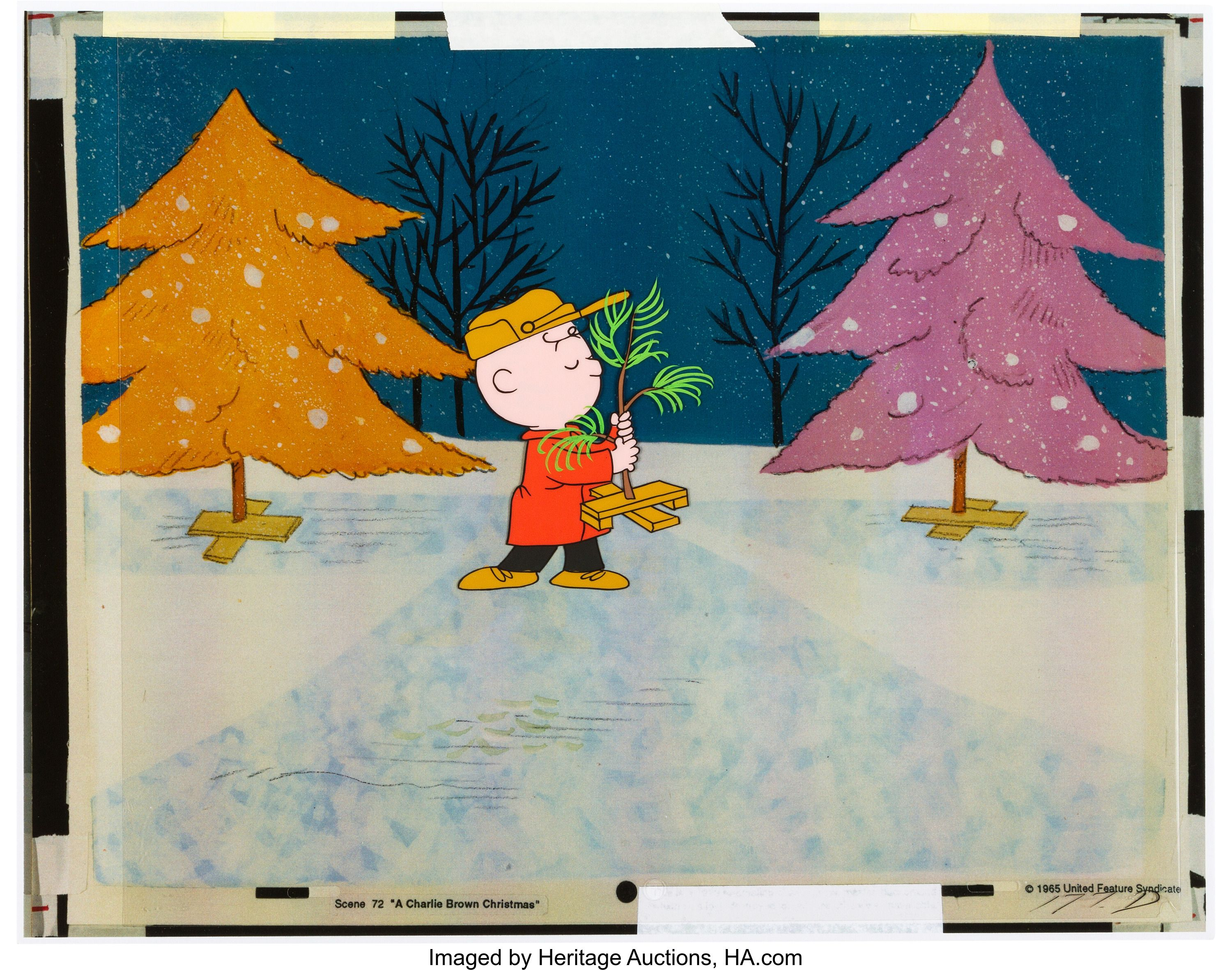 A Charlie Brown Christmas Charlie Brown And Christmas Tree Production Cel Bill Melendez Charlie Brown Christmas Christmas Tree Lots Mickey Mouse And Friends