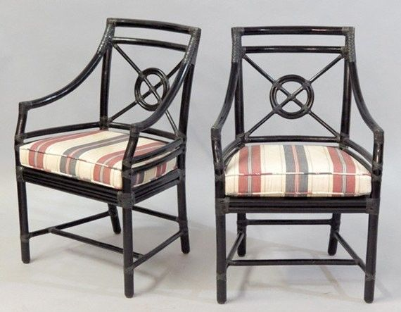 High Quality Pair Of Vintage Faux Bamboo McGuire Chairs