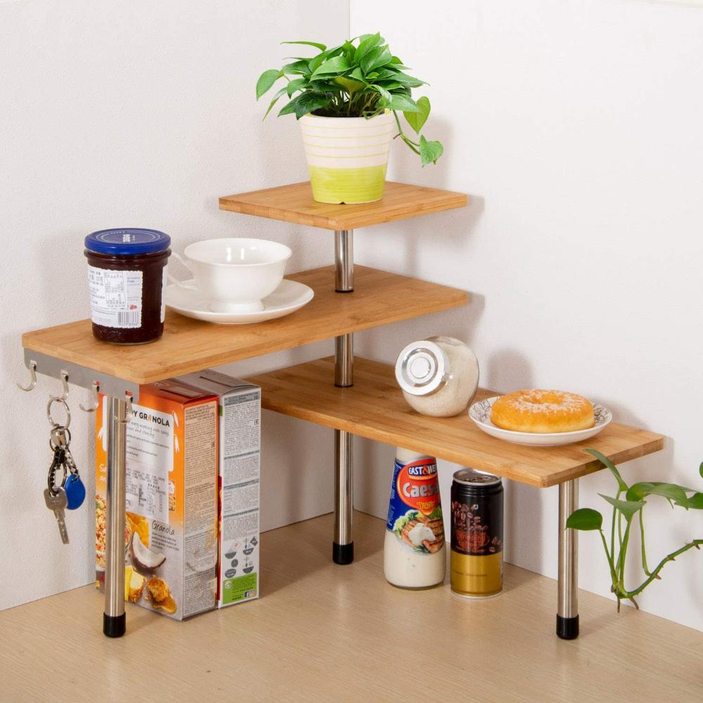 Amazon Com Olive Desktop Organizer Office Kitchen Corner Shelf Unit Spice Rack Adjustable Bamboo Stora Corner Shelf Unit Corner Shelves Kitchen Kitchen Corner