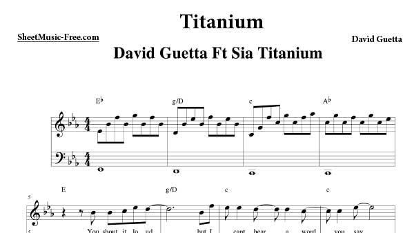 Titanium Sheet Music David Guetta Music Pinterest Sheet Music