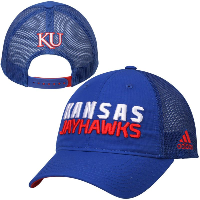 Men s Kansas Jayhawks adidas Travel Slouch Adjustable Hat - Blue ... e5dd307917ab