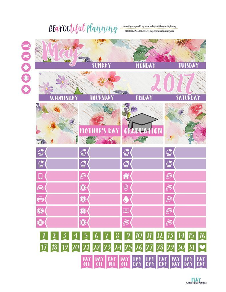 May Monthly Free Printable Planner Stickers