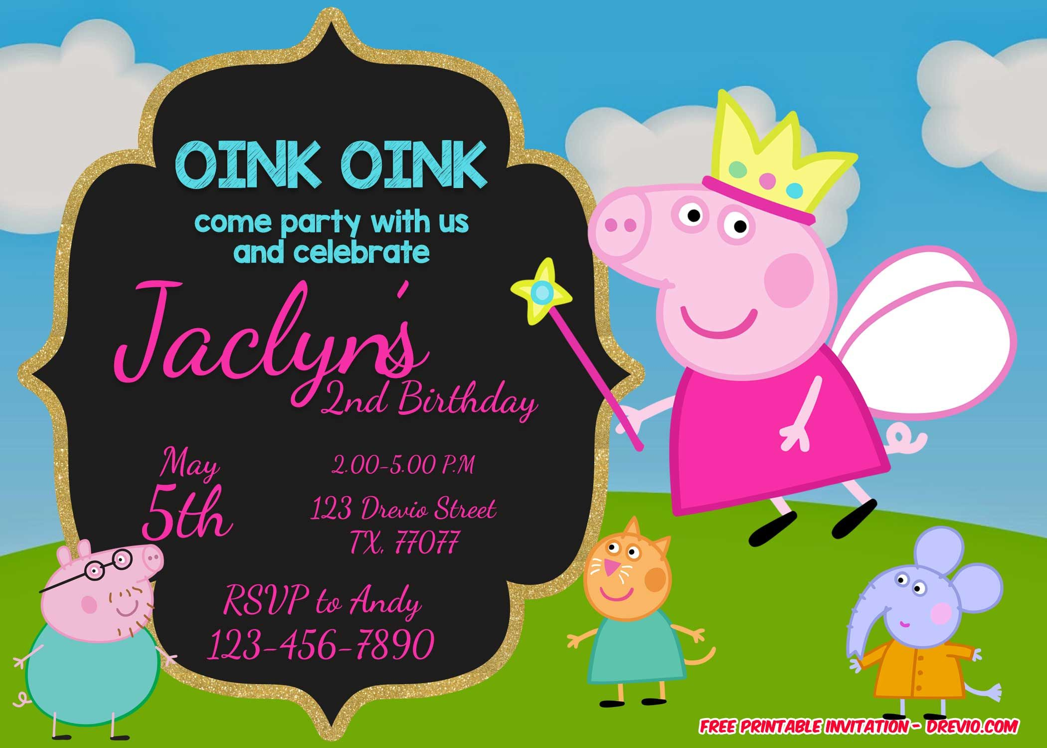 Nice FREE Printable Peppa Pig Invitation Template